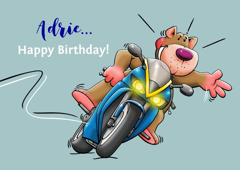 Verjaardagskaarten - Leuke verjaardagskaart felicitatie met beertje op motor
