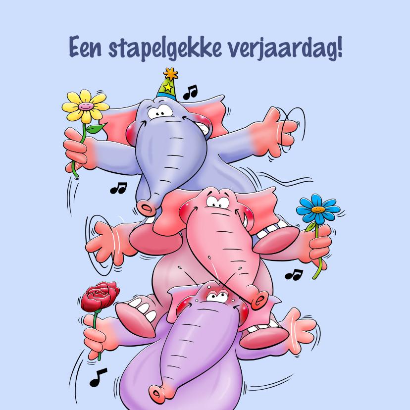 Verjaardagskaarten - Leuke verjaardagskaart met 3 olifanten die feesten