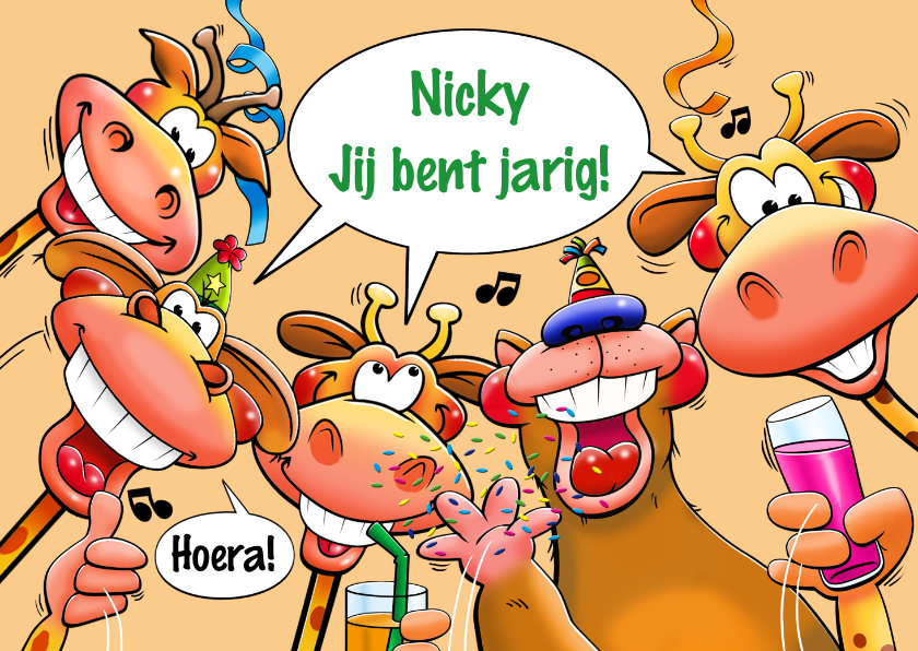 Verjaardagskaarten - Leuke verjaardagskaart met 4 giraffen en een beer