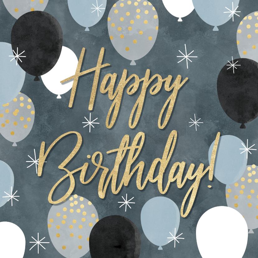 Verjaardagskaarten - Leuke verjaardagskaart met ballonnen en Happy Birthday