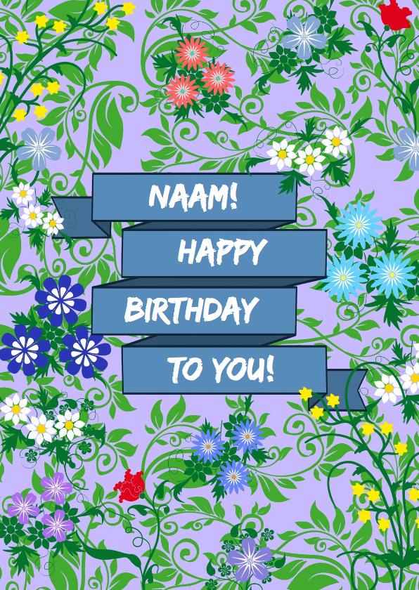 Verjaardagskaarten - Leuke verjaardagskaart met blauwe wimpel en bloemen