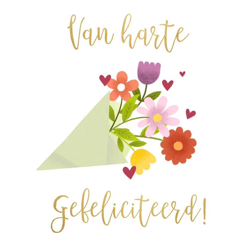 Verjaardagskaarten - Leuke verjaardagskaart met bos bloemen en gouden typografie