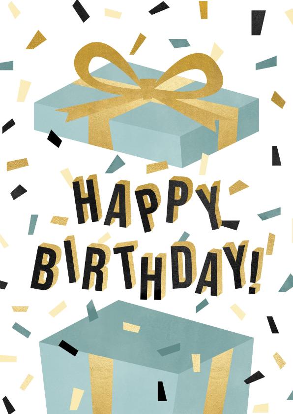 Verjaardagskaarten - Leuke verjaardagskaart met cadeau, confetti en typografie