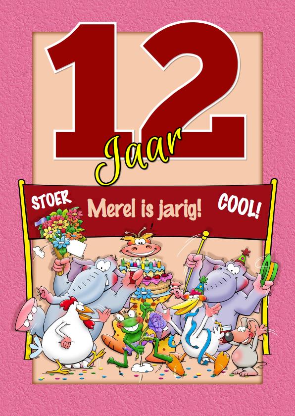 Verjaardagskaarten - Leuke verjaardagskaart met dieren en rode aanpasbare cijfers