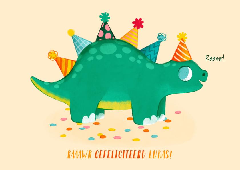 Verjaardagskaarten - Leuke verjaardagskaart met dino en feesthoedjes