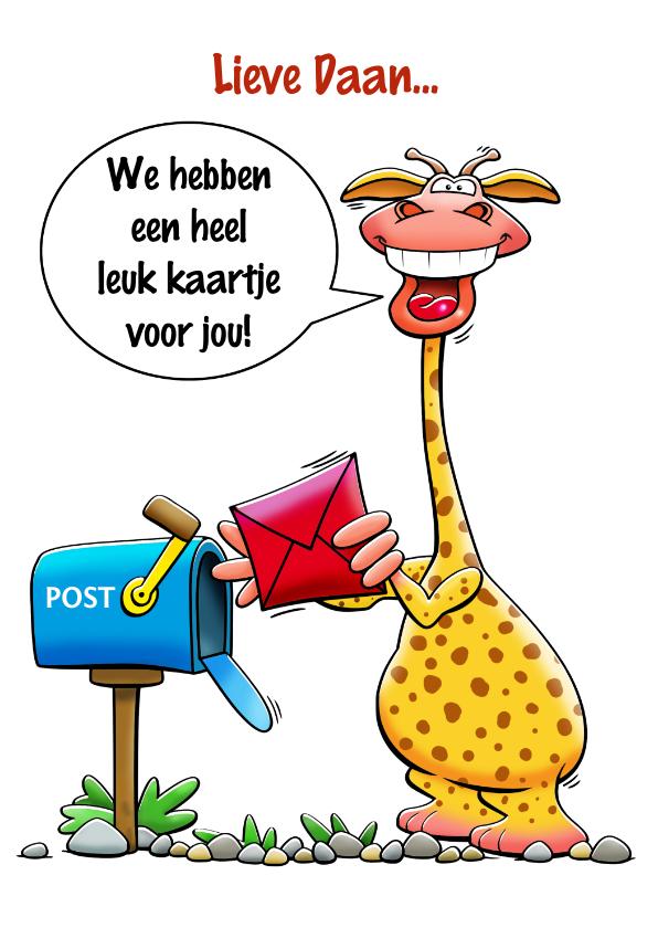Verjaardagskaarten - Leuke verjaardagskaart met giraf met kaartje en postbus