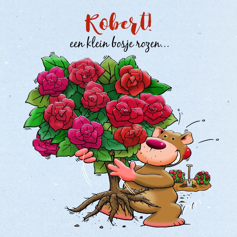 Verjaardagskaarten - Leuke verjaardagskaart met grappig beertje en rozenstruik