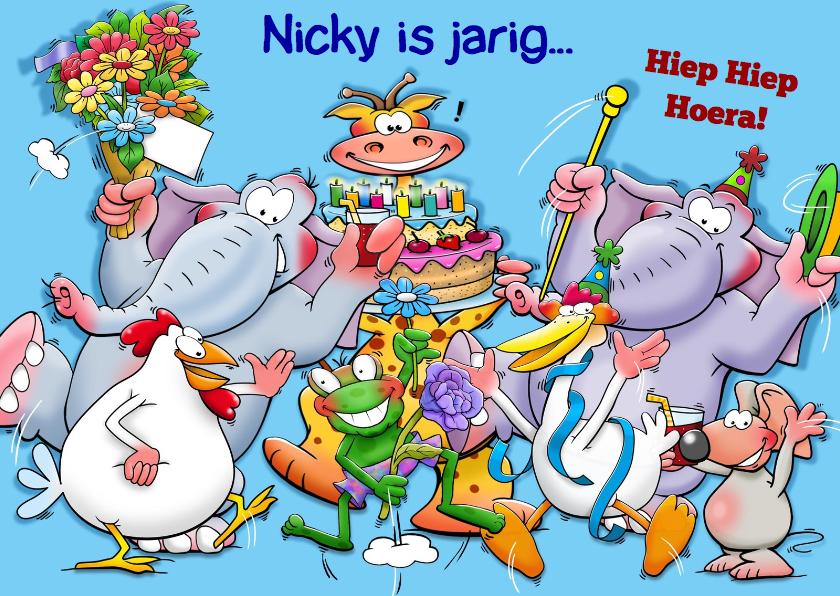 Verjaardagskaarten - Leuke verjaardagskaart met grappige juichende dieren