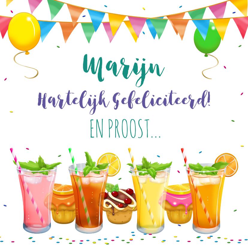 Verjaardagskaarten - Leuke verjaardagskaart met heerlijke limonade en cupcakes