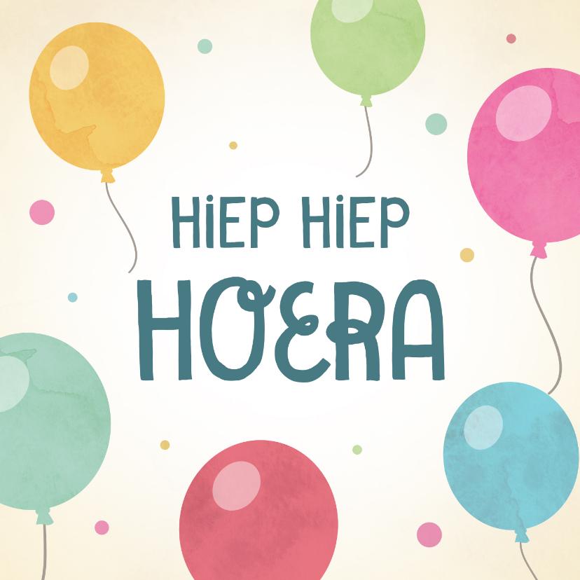 Verjaardagskaarten - Leuke verjaardagskaart met kleurrijke ballonnen.