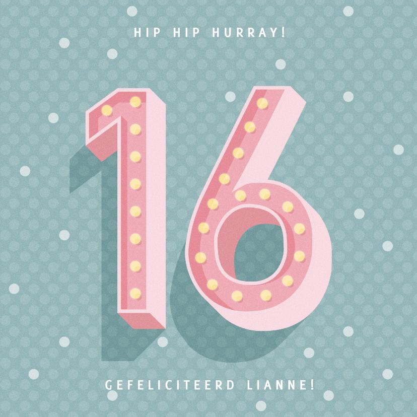 Verjaardagskaarten - Leuke verjaardagskaart met lichtbak cijfers '16'