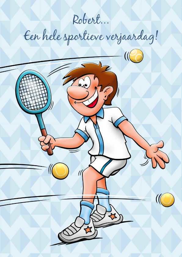 leuke verjaardagskaart met man die tennist