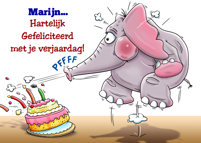 Verjaardagskaarten - Leuke verjaardagskaart met olifantje en taart
