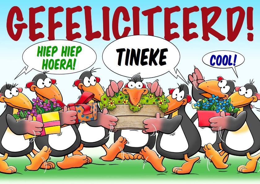 Verjaardagskaarten - Leuke verjaardagskaart met pinguïns voor een dame