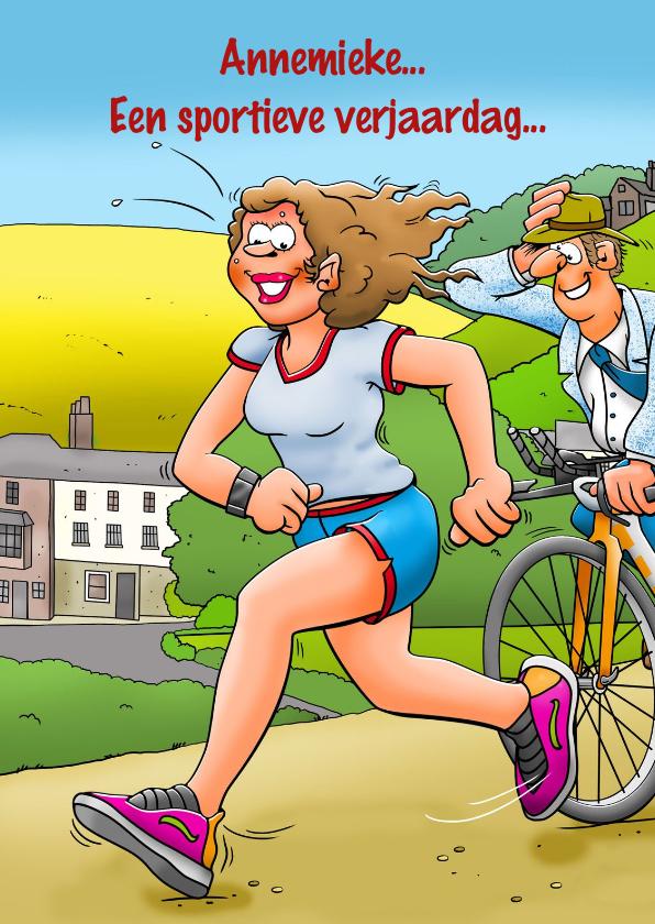 Verjaardagskaarten - Leuke verjaardagskaart met vrouw die aan hardlopen doet