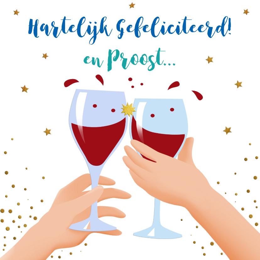 Verjaardagskaarten - Leuke verjaardagskaart met wijnglazen, handen en taart