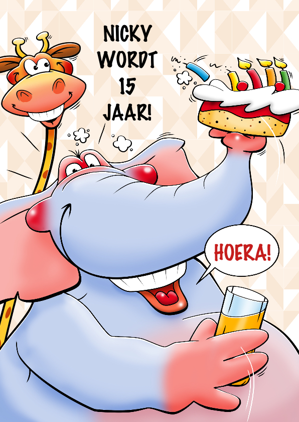 Verjaardagskaarten - Leuke verjaardagskaart olifant met taart en limonade tiener