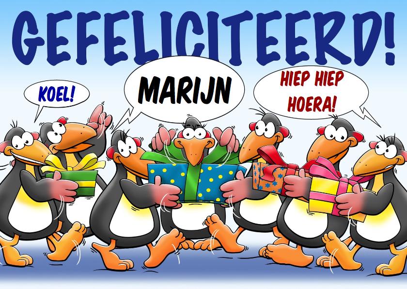 Verjaardagskaarten - Leuke verjaardagskaart pinguïns die kadootjes meenemen