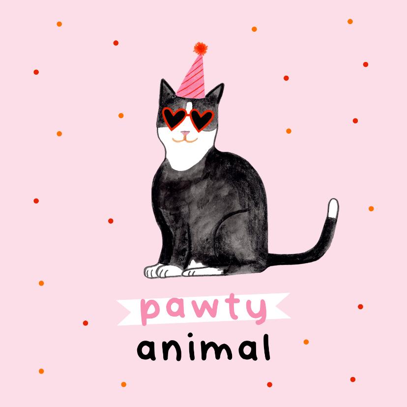 Verjaardagskaarten - Leuke verjaardagskaart rozepawty animal met kat confetti
