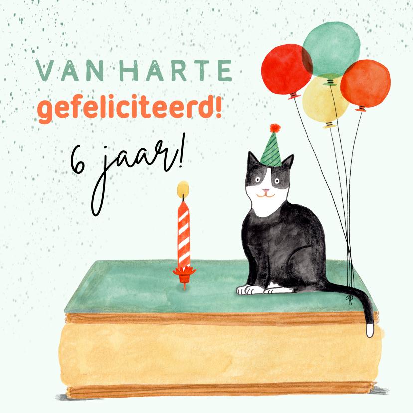 Verjaardagskaarten - Leuke verjaardagskaart tompouce poes ballonnen