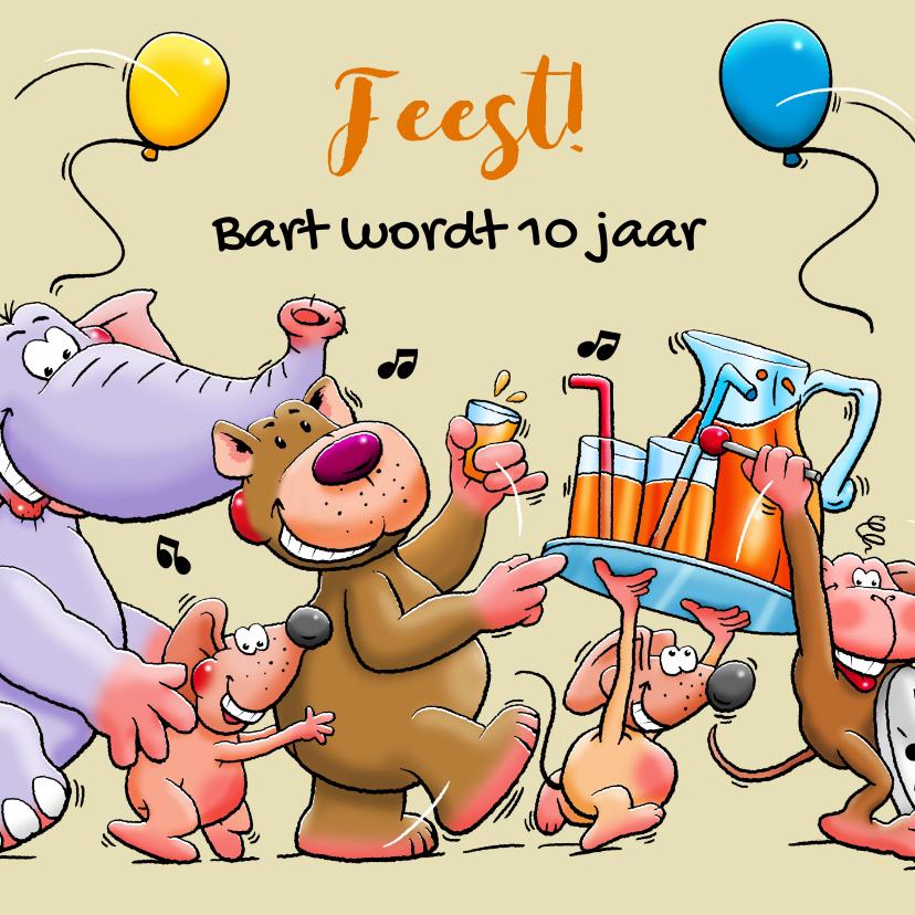 Verjaardagskaarten - Leuke verjaardagskaart voor kind met dieren en limonade