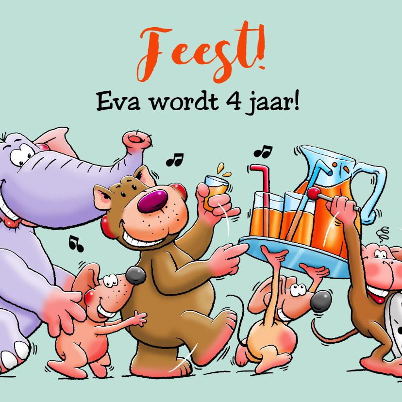 Verjaardagskaarten - Leuke verjaardagskaart voor kleuter met dieren en limonade