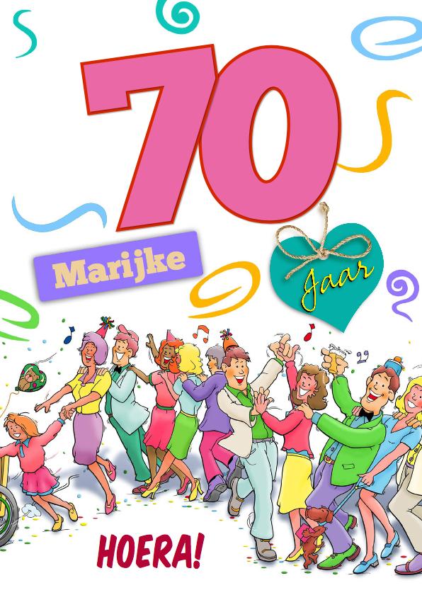 Verjaardagskaarten - Leuke verjaardagskaart voor vrouw met aanpasbare leeftijd 70