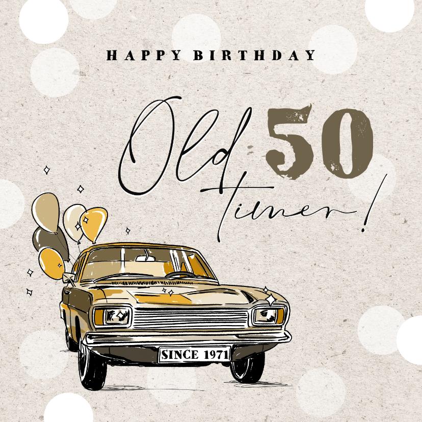 Verjaardagskaarten - Leuke vintage verjaardagskaart met oldtimer en ballonnen