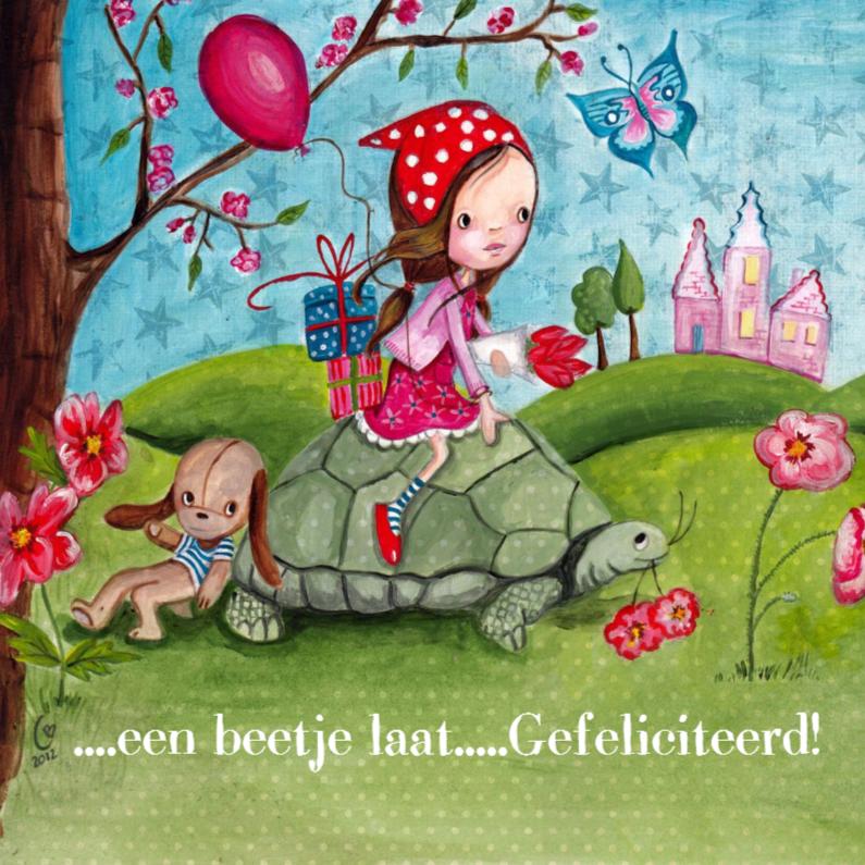 Verjaardagskaarten - Lief Meisje Schildpad
