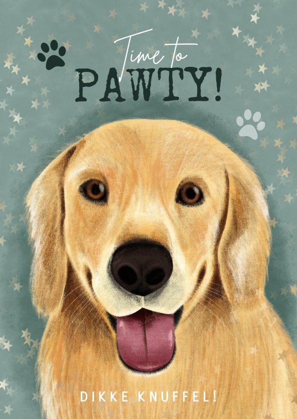 Verjaardagskaarten - Lieve verjaardagskaart hond, hondenpootjes, Time to Pawty!