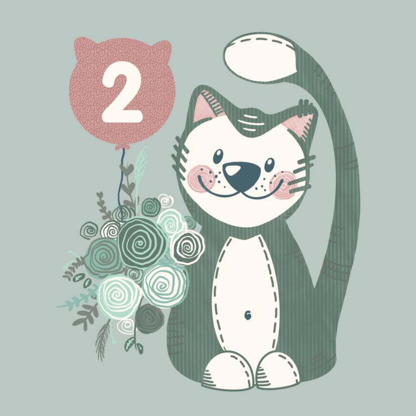 Verjaardagskaarten - Lieve verjaardagskaart met lieve knuffelkat