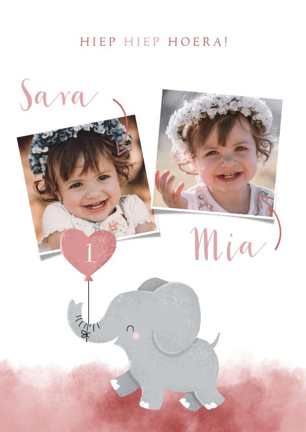 Verjaardagskaarten - Lieve verjaardagskaart voor tweeling meisjes met olifantje