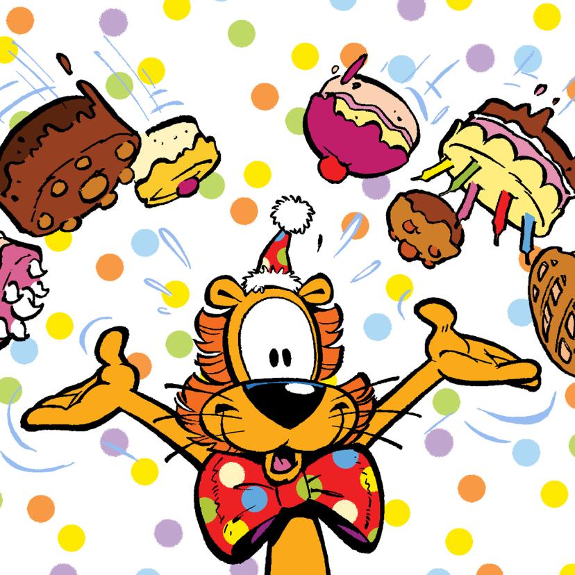 Verjaardagskaarten - Loeki de Leeuw taart regen