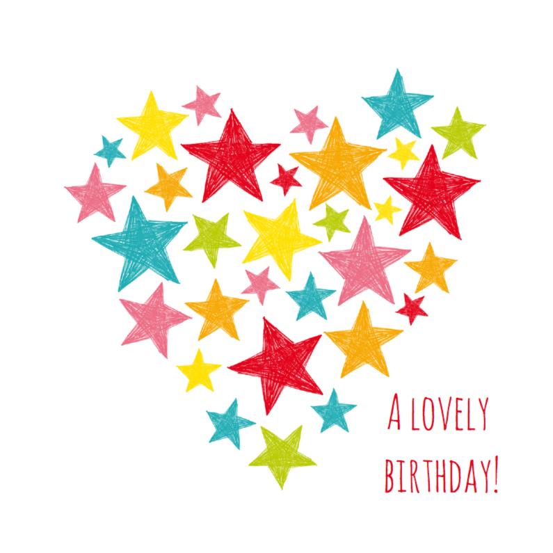 Verjaardagskaarten - Lovely birthday hart met sterren
