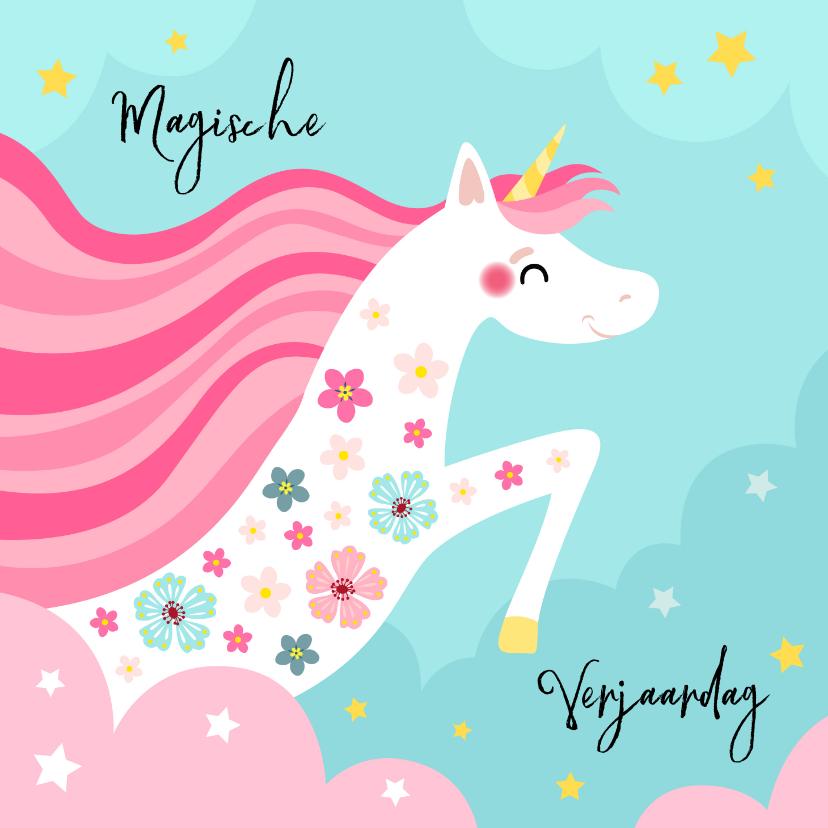Verjaardagskaarten - Magische unicorn verjaardagskaart