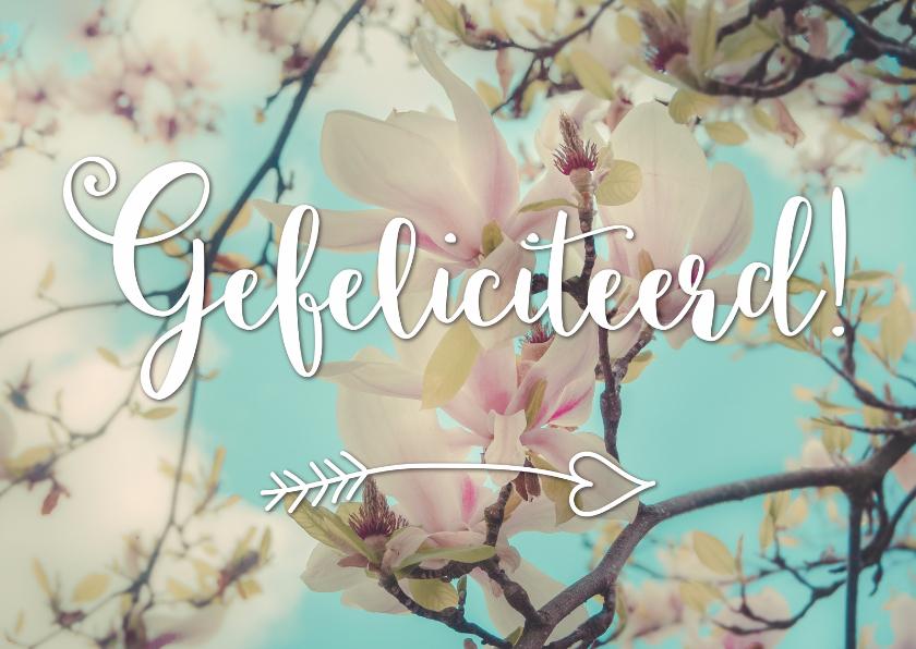 Verjaardagskaarten - Magnoliabloesem - Gefeliciteerd