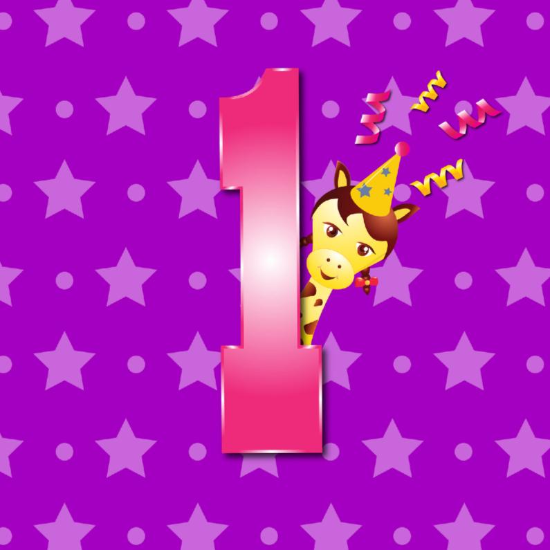 Verjaardagskaarten - meisje 1 jaar paars met ster en stip