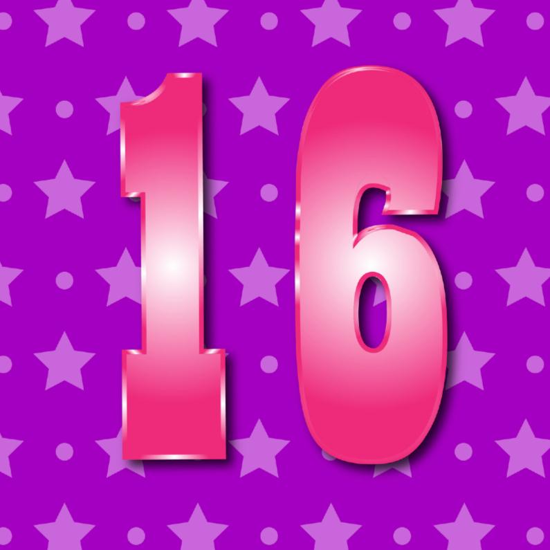 Verjaardagskaarten - meisje 16 jaar paars met ster en stip