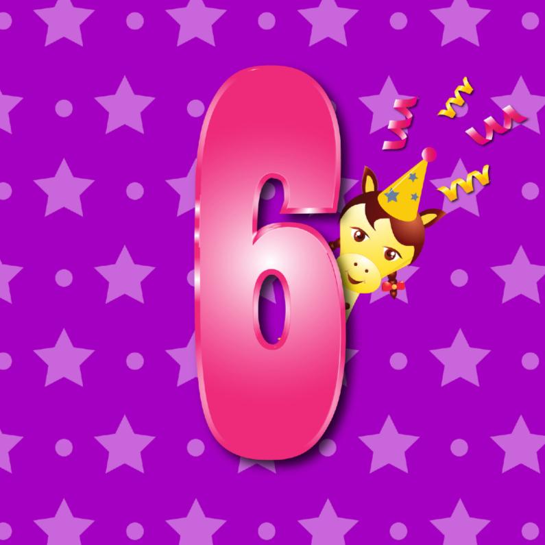 Verjaardagskaarten - meisje 6  jaar paars met ster en stip