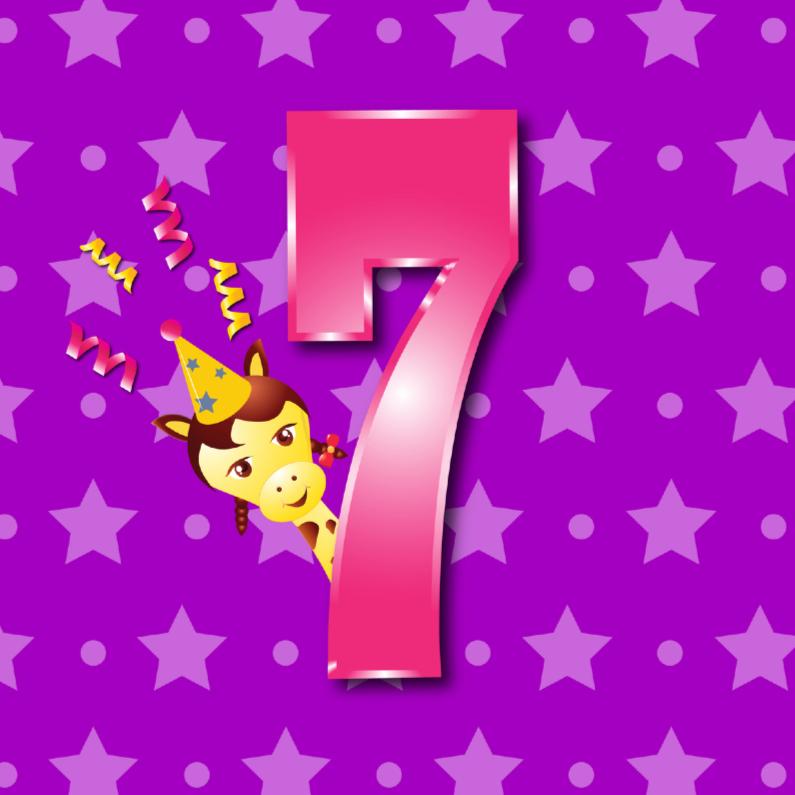 Verjaardagskaarten - meisje 7 jaar paars met ster en stip