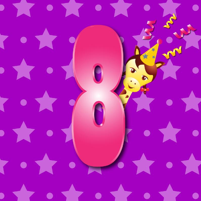 Verjaardagskaarten - meisje  8 jaar paars met ster en stip