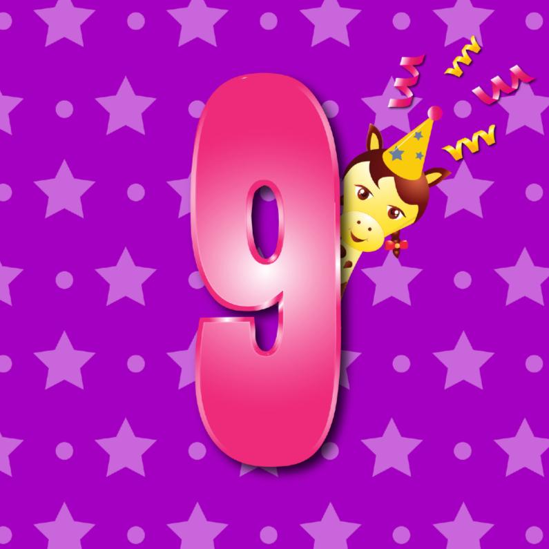 Verjaardagskaarten - meisje 9 jaar paars met ster en stip