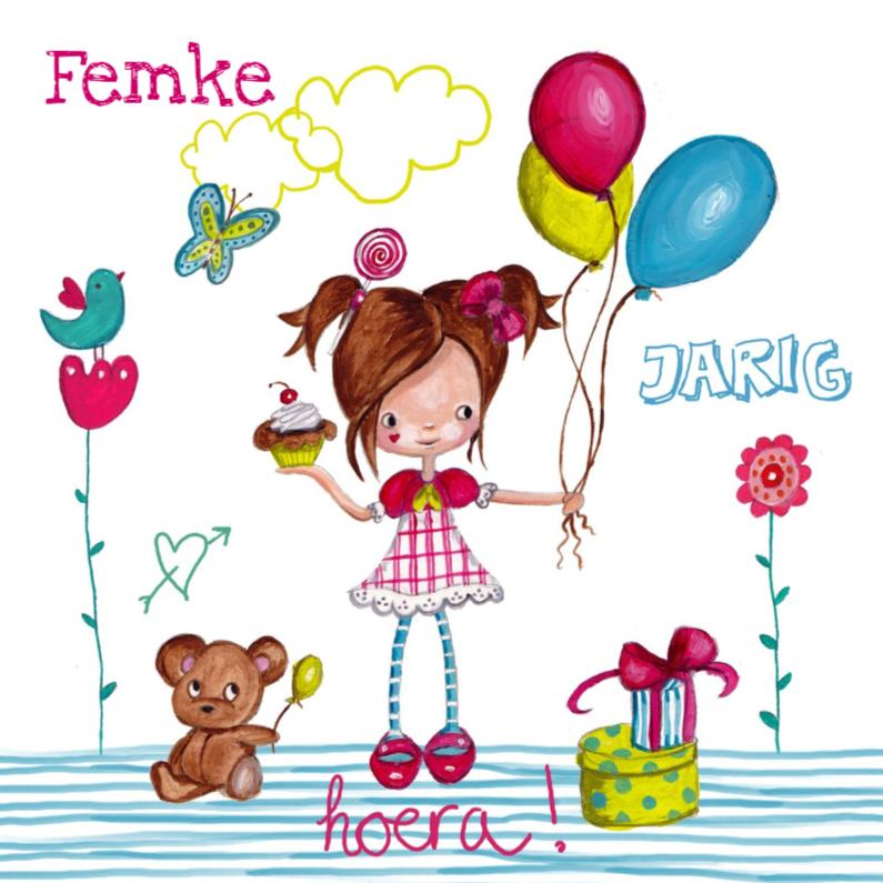 Verjaardagskaarten - Meisje Ballonnen Jarig Tekening