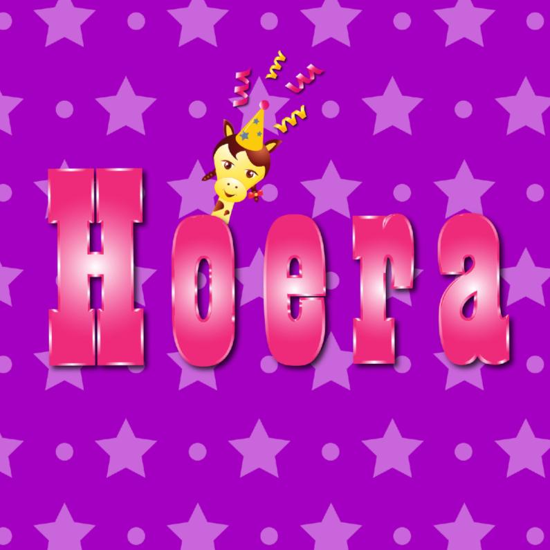 Verjaardagskaarten - meisje Hoera paars met ster en stip