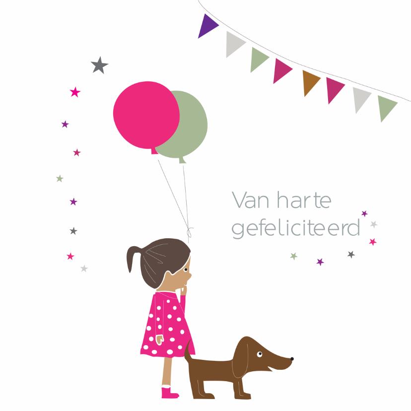 Verjaardagskaarten - Meisje met hondje