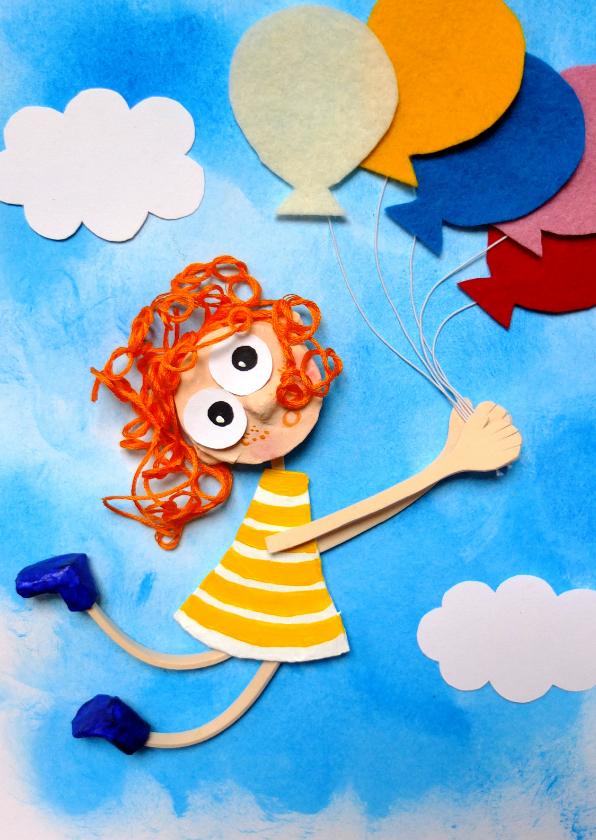 Verjaardagskaarten - Meisje vliegt door bos ballonnen