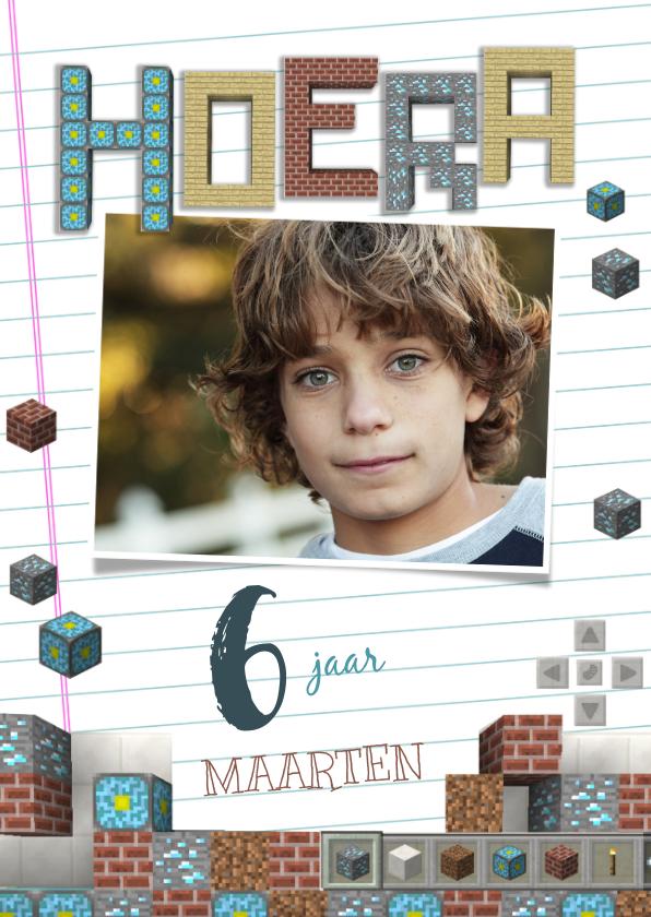Verjaardagskaarten - Minecraft verjaardagskaart Hoera