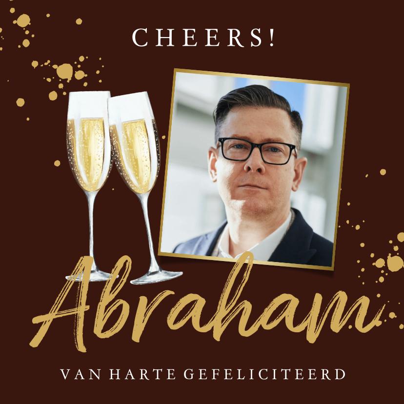 Verjaardagskaarten - Moderne Abraham kaart met champagneglas, foto's en goud
