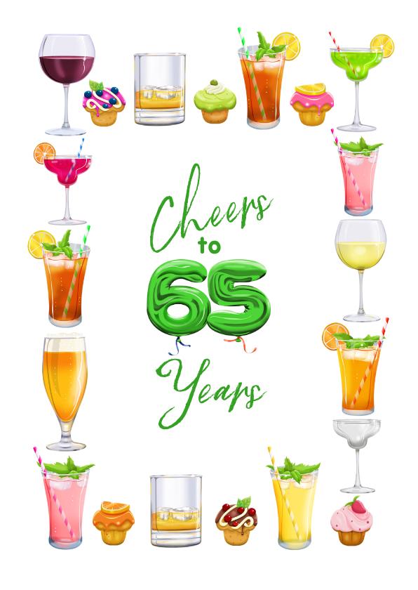 Verjaardagskaarten - Moderne kaart met glazen, diverse drankjes, 65 jaar