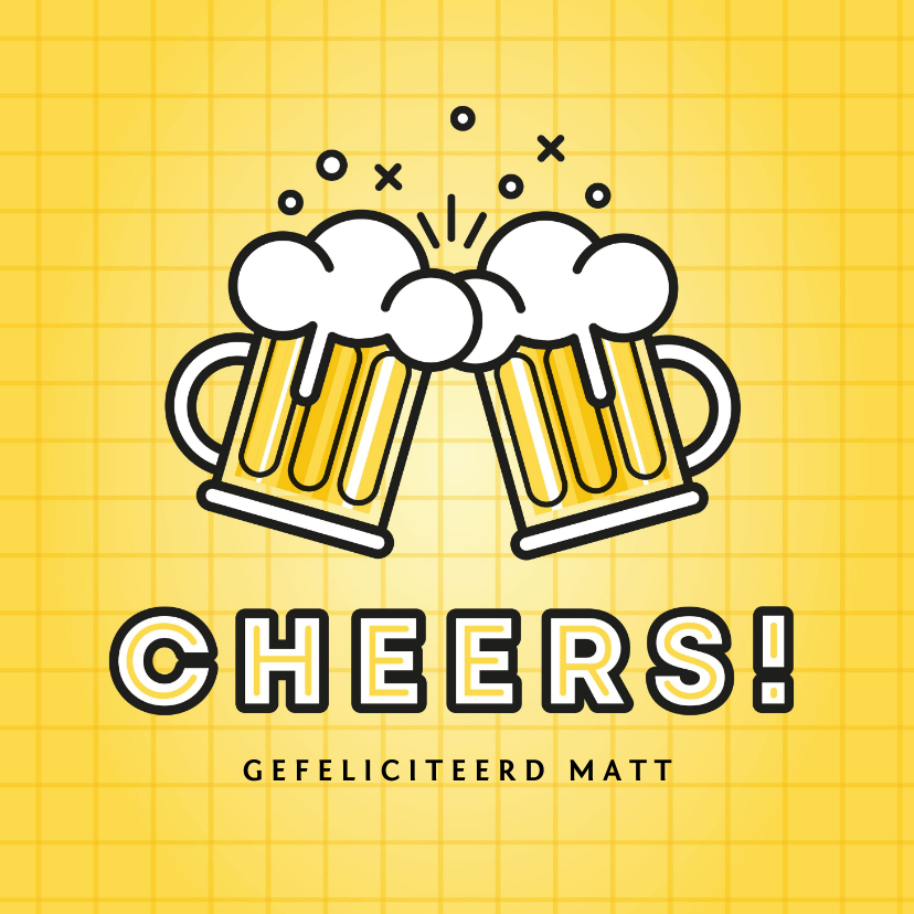 Verjaardagskaarten - Moderne verjaardagskaart bierpullen en cheers!